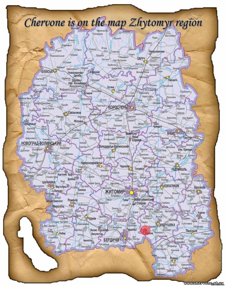 Chervone is on the map Zhitomir region